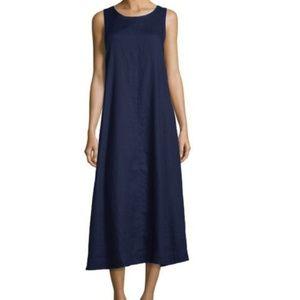 Eileen Fisher Blue Silk and Linen Maxi Dress